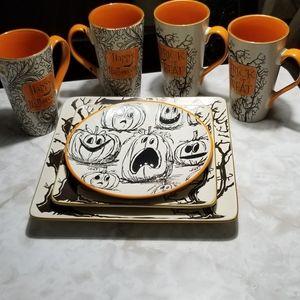 "tj maxx Holiday - inHomestylez Pumpkin Happy Halloween 8"" Dish"